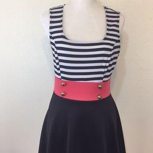 ModCloth Mystic Black & White Striped Dress